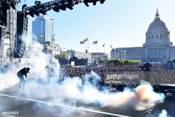 Musician Vince Staples performs at the Colossal Stage during Colossal Clusterfest at Civic Center Plaza and The Bill Graham Civic Auditorium on June...