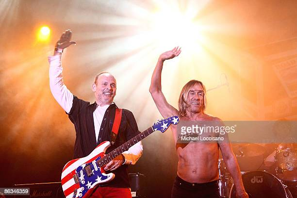 Musician Wayne Kramer and singer Iggy Pop perform during the Road Recovery Benefit Concert 2009 at Nokia Theatre Times Square on May 1 2009 in New...