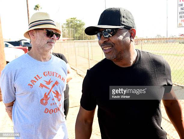 Musician Wayne Kramer cofounder of Jail Guitar Doors USA and rapper Chuck D of Prophets of Rage pose outside of the California Rehabilitation Center...