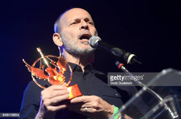 Musician Wayne Kramer of MC5 is honored with an award at the second annual Rock for Recovery benefit concert at The Fonda Theatre on September 16...