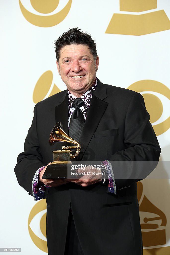 Musician Wayne Toups, winner of the Best Regional Roots Music Album for 'The Band Courtbouillon', poses in the press room at the 55th Annual GRAMMY Awards at Staples Center on February 10, 2013 in Los Angeles, California.