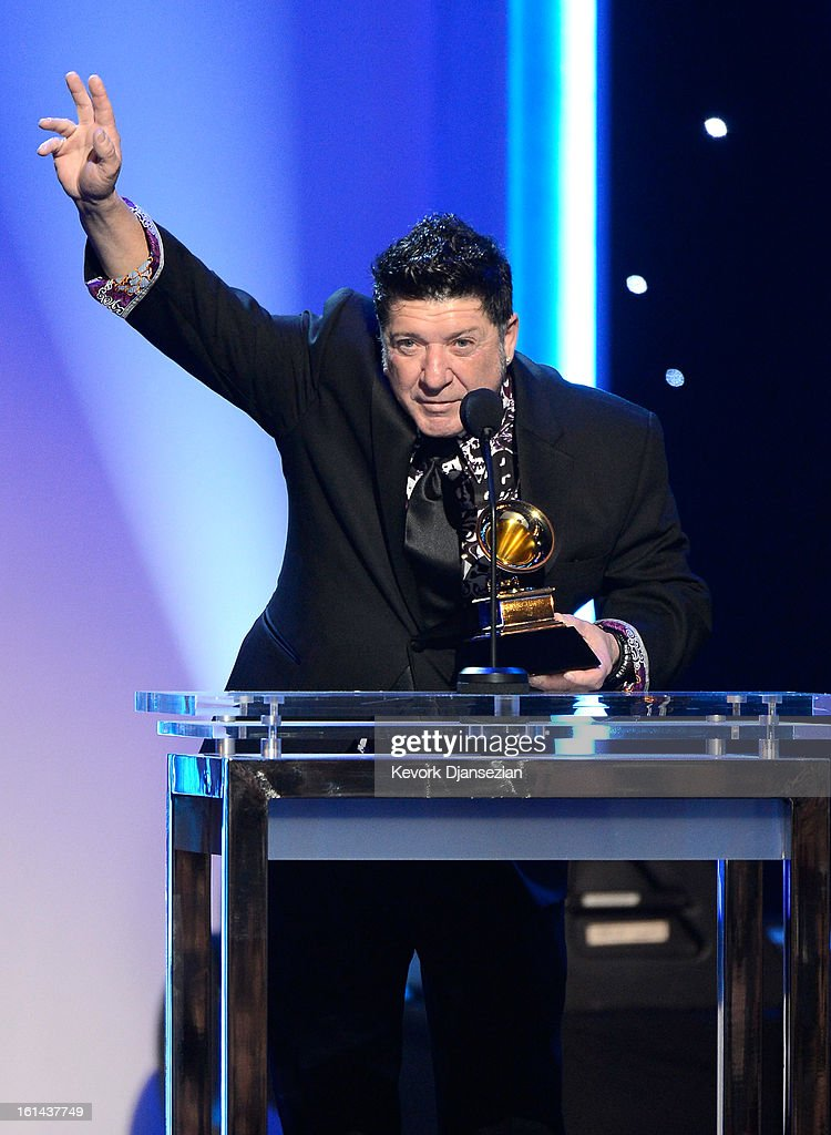 Musician Wayne Toups, winner of the Best Regional Roots Music Album for 'The Band Courtbouillon' onstage at the The 55th Annual GRAMMY Awards at Nokia Theatre on February 10, 2013 in Los Angeles, California.