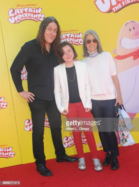 Musician Weird Al Yankovic and family arrive for Premiere Of 20th Century Fox's 'Captain Underpants The First Epic Movie' held at Regency Village...