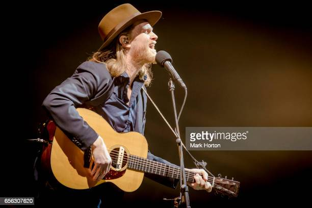 Musician Wesley Schultz of The Lumineers performs at the Canadian Tire Centre on March 21 2017 in Ottawa Canada
