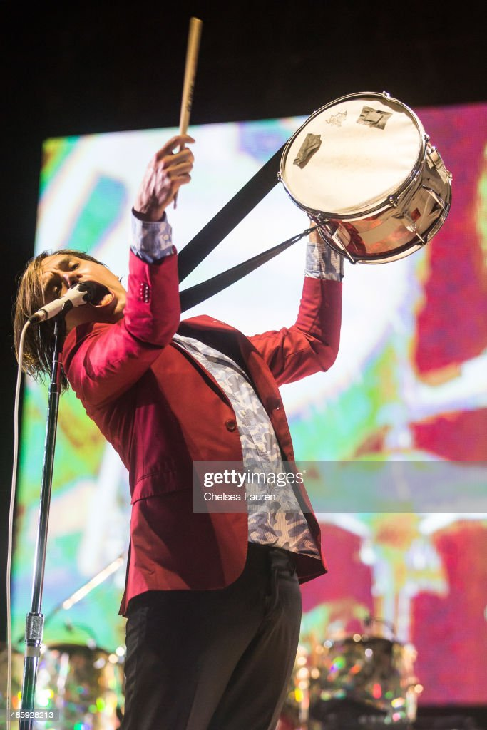 Musician William Butler of Arcade Fire performs at the Coachella valley music and arts festival at The Empire Polo Club on April 20, 2014 in Indio, California.