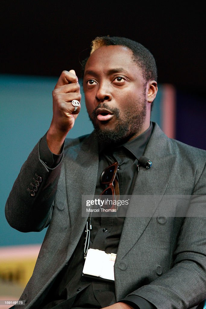 Musician Will.i.am seen on stage during the Next Generation of Innovators keynote at the LVH Theater on January 8, 2013 in Las Vegas, Nevada.