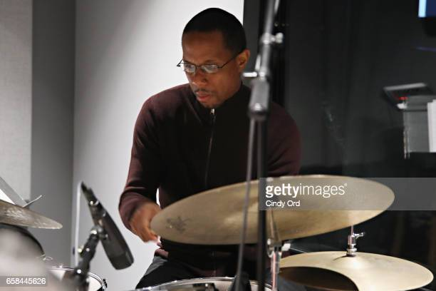 Musician Willie Jones III plays drums as Wynton Marsalis and Jon Batiste perform the music of John Lewis at Spotify Studio for Jazz at Lincoln...