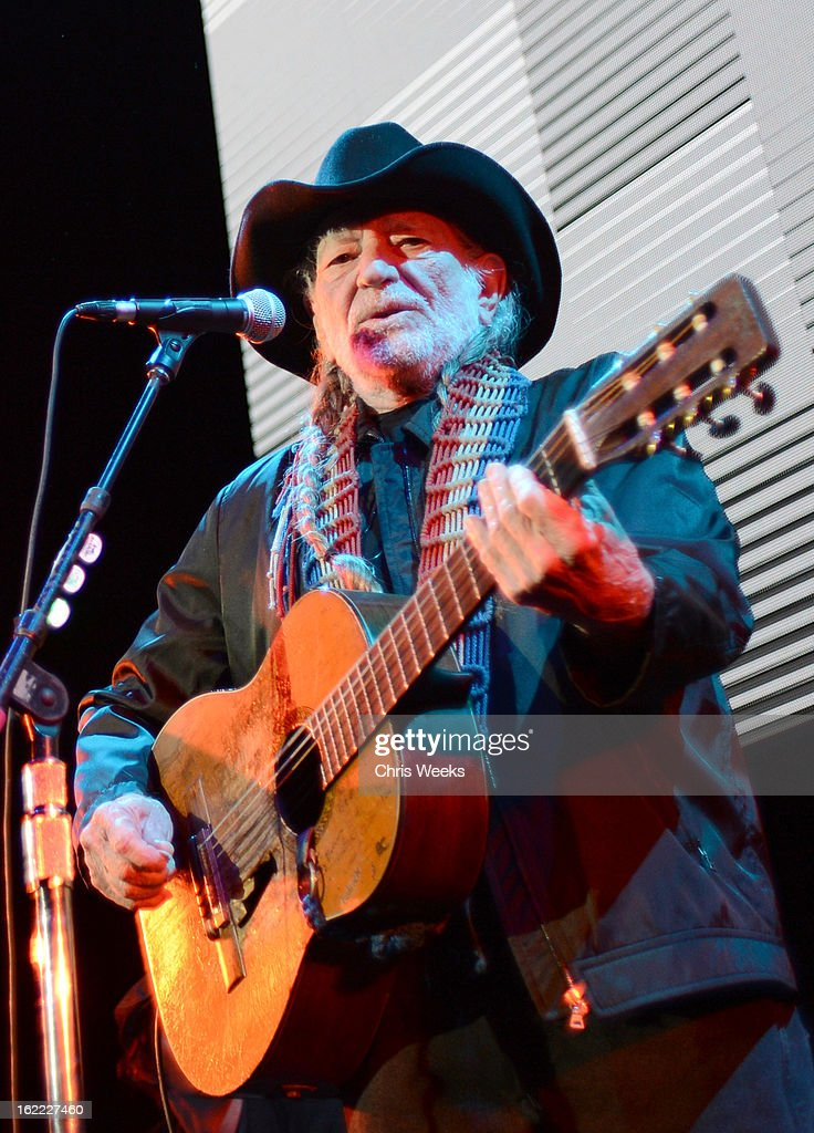 Musician Willie Nelson performs on stage during Global Green USA's 10th Annual Pre-Oscar Party at Avalon on February 20, 2013 in Hollywood, California.
