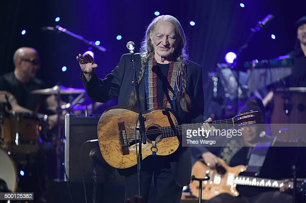 Musician Willie Nelson performs on stage during the Imagine John Lennon 75th Birthday Concert at The Theater at Madison Square Garden on December 5...