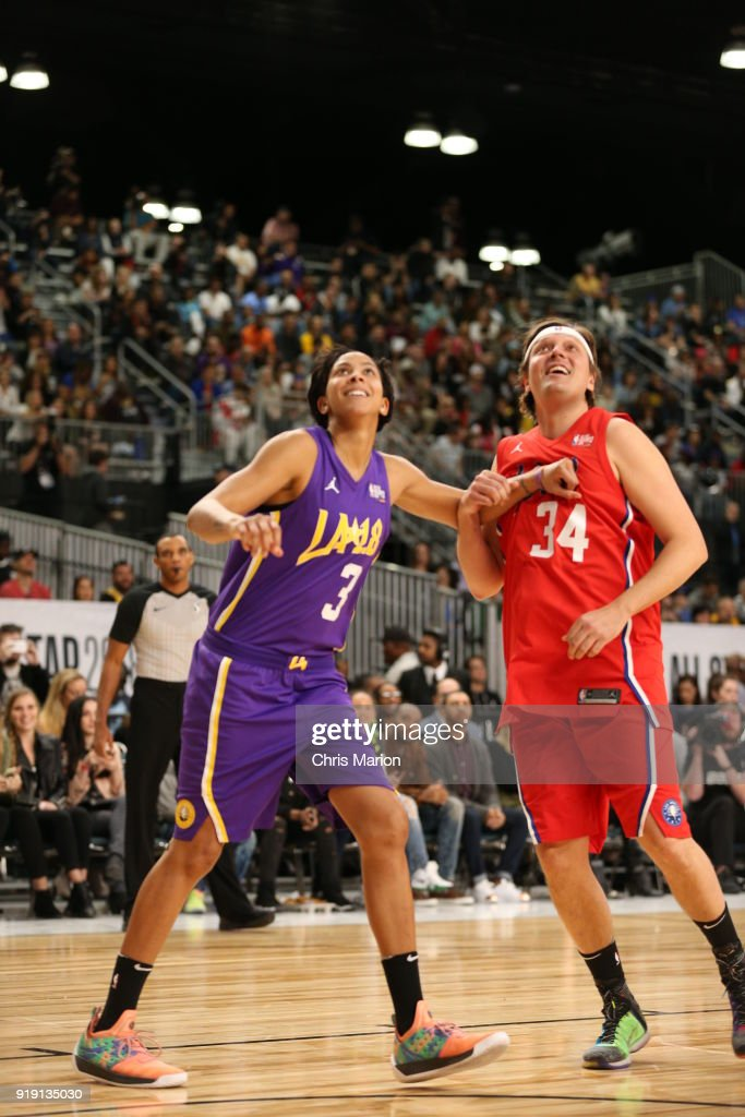 Musician Win Butler and Candace Parker of the Los Angeles Sparks battle for position during the 2018 NBA All-Star Game Celebrity Game as part of 2018 NBA All-Star Weekend on February 16, 2018 at Verizon Up Arena in the Los Angeles Convention Center in Los Angeles, California.