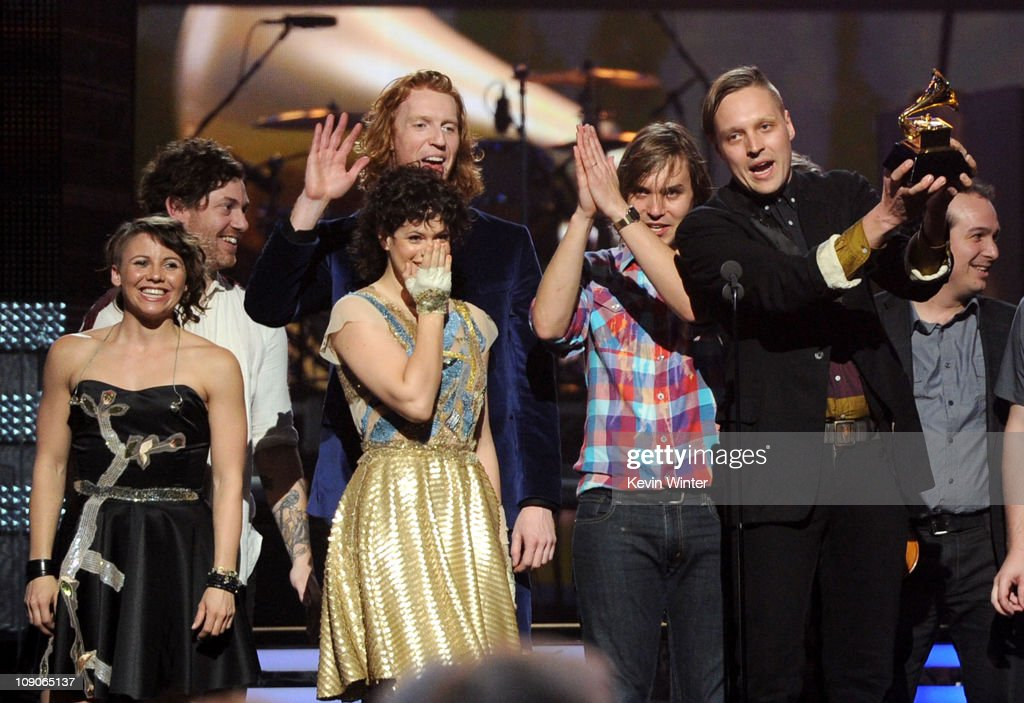 Musician Win Butler (R), Regine Chassagne and the band Arcade Fire accept Album of the Year award for 'The Suburbs ' onstage during The 53rd Annual GRAMMY Awards held at Staples Center on February 13, 2011 in Los Angeles, California.