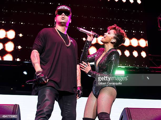 Musician Wisin and singer/actress Jennifer Lopez perform during Mega 979 Megaton Concert at Madison Square Garden on October 28 2015 in New York City