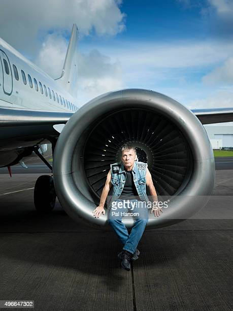 Musician with heavy metal band Iron Maiden airline pilot and broadcaster Bruce Dickinson is photographed for the Observer on August 10 2015 in...
