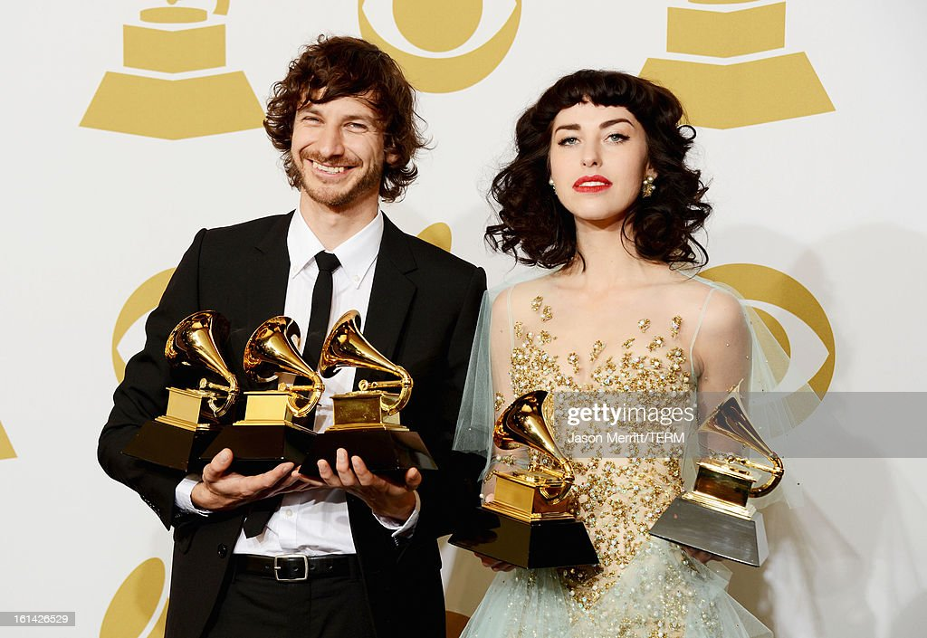 Musician Wouter De Backer and Kimbra Johnson, winners of Best Pop Duo/Group Performance, Best Alternative Music Album and Record of The Year, pose in the press room at the 55th Annual GRAMMY Awards at Staples Center on February 10, 2013 in Los Angeles, California.