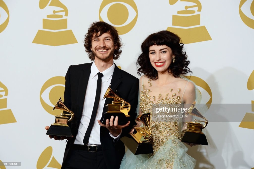 Musician Wouter De Backer and <a gi-track='captionPersonalityLinkClicked' href=/galleries/search?phrase=Kimbra+Johnson&family=editorial&specificpeople=8084276 ng-click='$event.stopPropagation()'>Kimbra Johnson</a>, winners of Best Pop Duo/Group Performance, Best Alternative Music Album and Record of The Year, pose in the press room at the 55th Annual GRAMMY Awards at Staples Center on February 10, 2013 in Los Angeles, California.