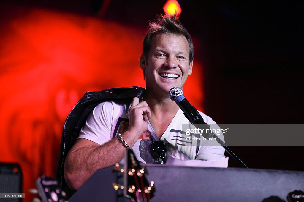 Musician / wrestler <a gi-track='captionPersonalityLinkClicked' href=/galleries/search?phrase=Chris+Jericho&family=editorial&specificpeople=754782 ng-click='$event.stopPropagation()'>Chris Jericho</a> attends the Revolver Golden Gods Awards press conference at Hard Rock Cafe - Hollywood on January 30, 2013 in Hollywood, California.