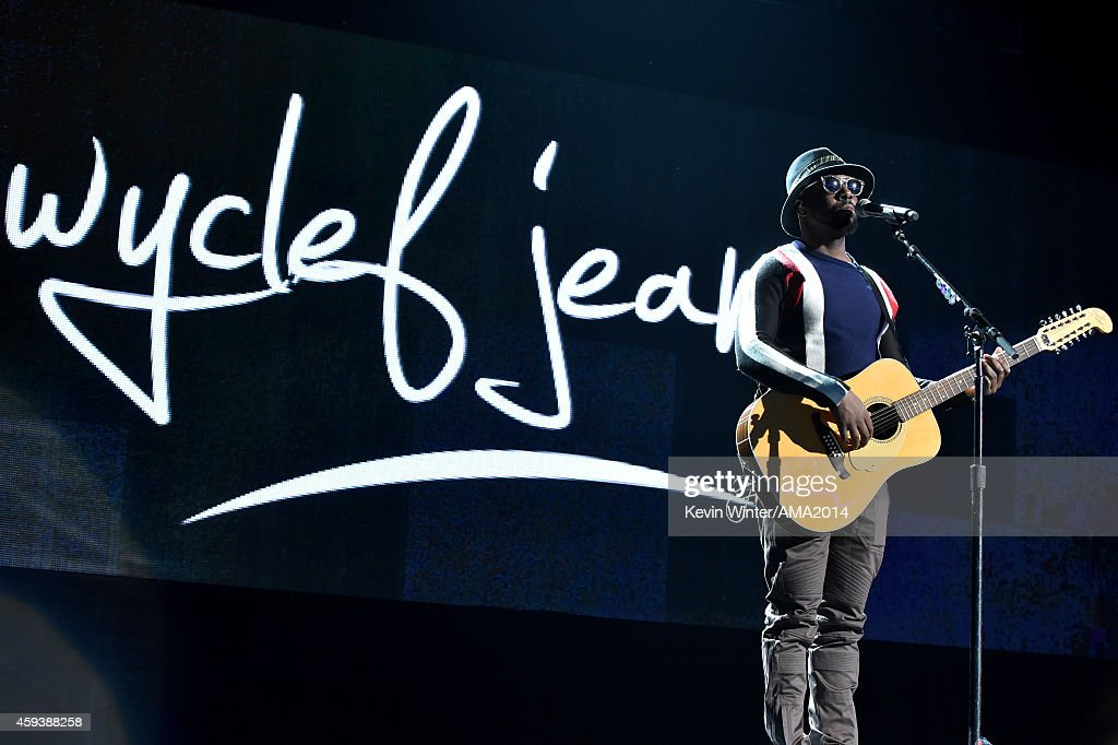 Musician Wyclef Jean performs onstage during rehearsals for the 2014 American Music Awards at Nokia Theatre L.A. Live on November 21, 2014 in Los Angeles, California.