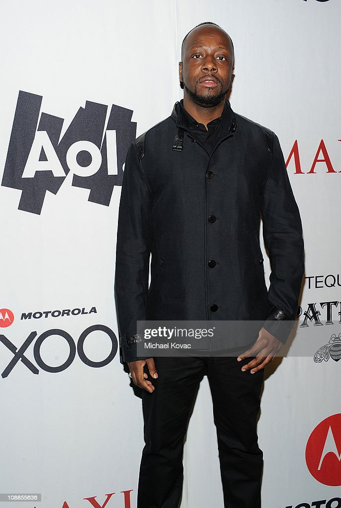 Musician Wyclef Jean poses with AOL at the Maxim Party Powered by Motorola Xoom at Centennial Hall at Fair Park on February 5, 2011 in Dallas, Texas.