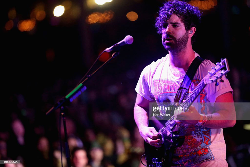 Musician Yannis Philippakis of Foals performs onstage during day 1 of the 2013 Coachella Valley Music Arts Festival at the Empire Polo Club on April...