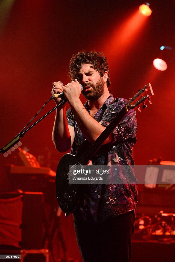 Musician Yannis Philippakis of the band Foals performs onstage at the El Rey Theatre on April 16 2013 in Los Angeles California