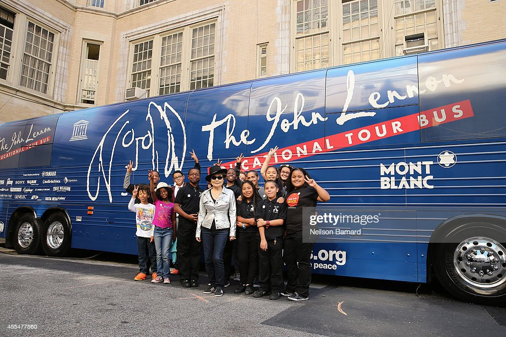 Musician Yoko Ono and school children from P.S. 171 attend the John Lennon Educational Tour Bus Event at P.S. 171 Patrick Henry School on September 15, 2014 in New York City.