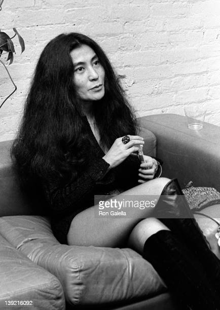 Musician Yoko Ono attends the opening of David Croland Exhibit on November 13 1973 at Artworks Gallery in New York City