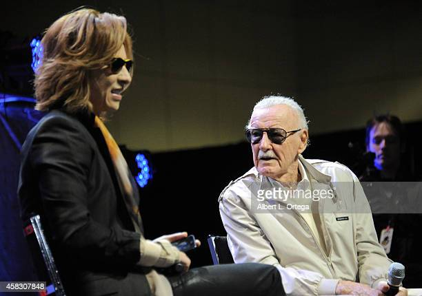 Musician Yoshiki and Comic Book Icon Stan Lee onstage on Day 3 of the Third Annual Stan Lee's Comikaze Expo held at Los Angeles Convention Center on...