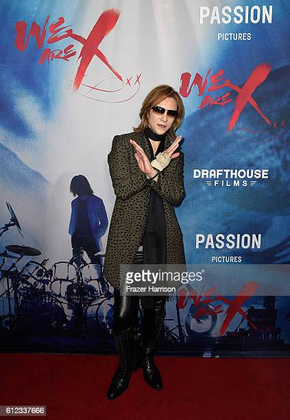 Musician Yoshiki attends the premiere of Drafthouse Films' 'We Are X' at TCL Chinese Theatre on October 3 2016 in Hollywood California
