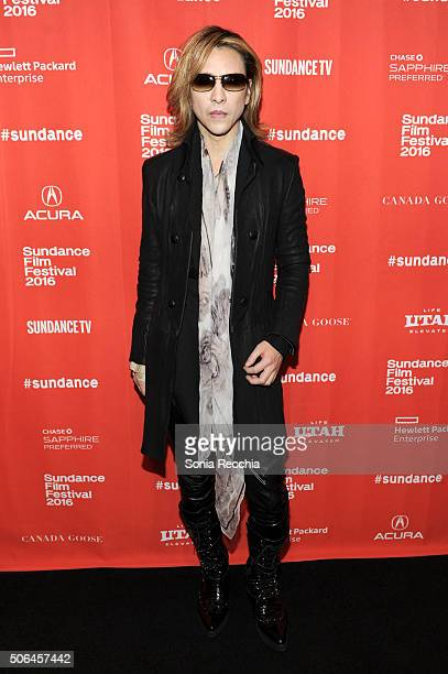 Musician Yoshiki attends the 'We Are X' Premiere during the 2016 Sundance Film Festival at Prospector Square on January 23 2016 in Park City Utah