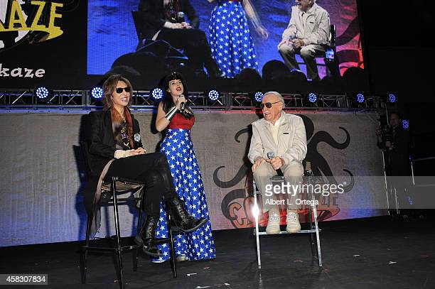 Musician Yoshiki coslayer/moderator Kitt Quinn and Comic Book Icon Stan Lee onstage on Day 3 of the Third Annual Stan Lee's Comikaze Expo held at Los...