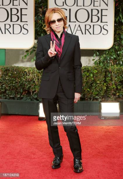 Musician Yoshiki from the music group X Japan arrives at the 69th Annual Golden Globe Awards held at the Beverly Hilton Hotel on January 15 2012 in...