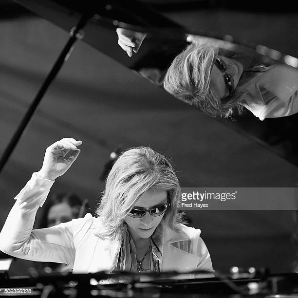 Musician YOSHIKI performs during the YOSHIKI Performance at Sundance Festival Base Camp on January 22 2016 in Park City Utah