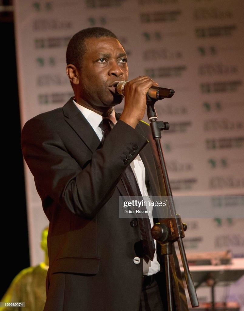 Musician <a gi-track='captionPersonalityLinkClicked' href=/galleries/search?phrase=Youssou+N%27Dour&family=editorial&specificpeople=235392 ng-click='$event.stopPropagation()'>Youssou N'Dour</a> performing on stage at the IC Banker of the Year Awardsat the Taj Palace on May 29, 2013 in Marrakech, Morocco.