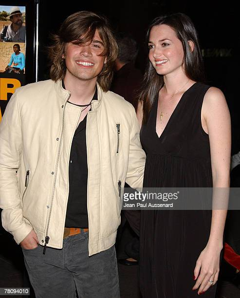 Musician Zac Hanson and wife Kate arrive at the Los Angeles screening of 'Darfur Now' held at the Directors Guild of America on October 30th 2007 in...