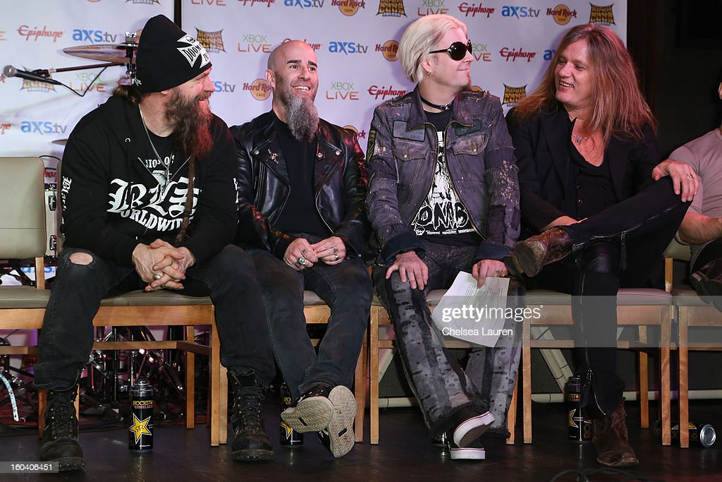Musician Zakk Wylde, guitarist Scott Ian, guitarist John 5 and vocalist Sebastian Bach attend the Revolver Golden Gods Awards press conference at Hard Rock Cafe - Hollywood on January 30, 2013 in Hollywood, California.