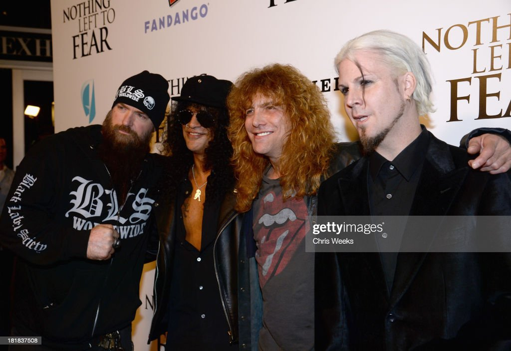 Musician Zakk Wylde, producer/musician Slash, drummer Steven Adler and guitarist John 5 attend the advanced screening of 'Nothing Left To Fear' presented by Anchor Bay and Fandango at ArcLight Cinemas on September 25, 2013 in Hollywood, California.