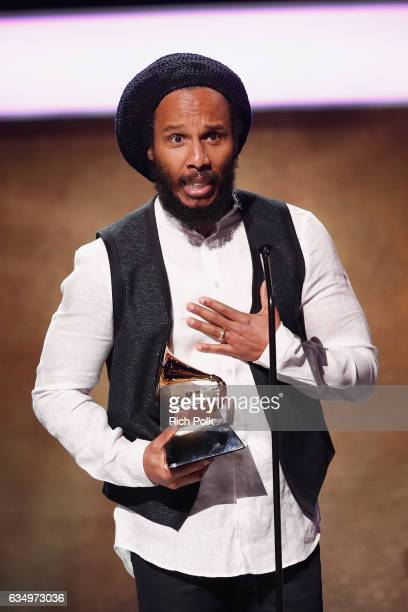 Musician Ziggy Marley accepts the Best Reggae Album for selftitled album 'Ziggy Marley' onstage at the Premiere Ceremony during the 59th GRAMMY...