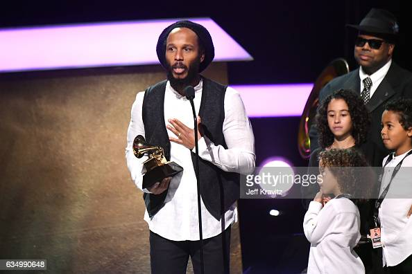 Musician Ziggy Marley accepts the Reggae Album award for 'Ziggy Marley' onstage at the Premiere Ceremony during the 59th GRAMMY Awards at Microsoft...