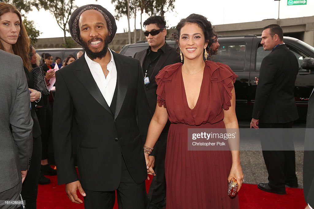 Musician <a gi-track='captionPersonalityLinkClicked' href=/galleries/search?phrase=Ziggy+Marley&family=editorial&specificpeople=161393 ng-click='$event.stopPropagation()'>Ziggy Marley</a> (L) and Orly Marley (R) attend the 55th Annual GRAMMY Awards at STAPLES Center on February 10, 2013 in Los Angeles, California.
