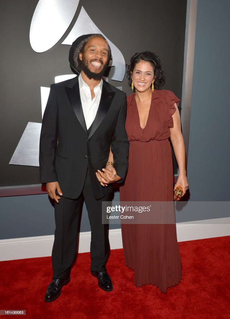 Musician Ziggy Marley (L) and Orly Marley attend the 55th Annual GRAMMY Awards at STAPLES Center on February 10, 2013 in Los Angeles, California.
