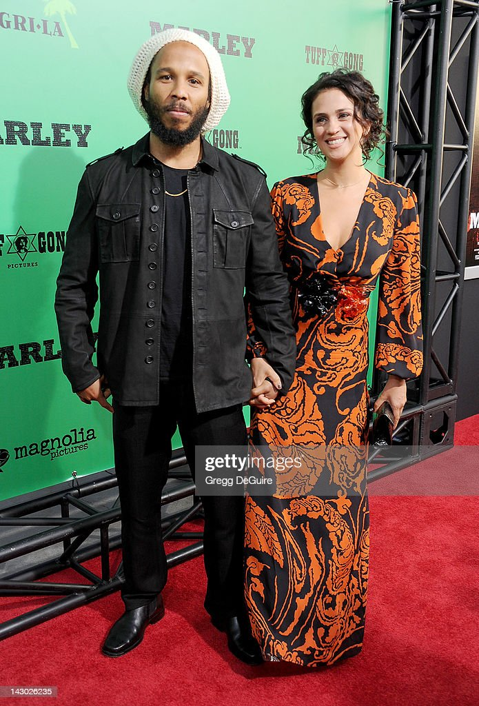 Musician Ziggy Marley and wife Orly Marley arrive at the Los Angeles premiere of 'Marley' at ArcLight Cinemas Cinerama Dome on April 17 2012 in...