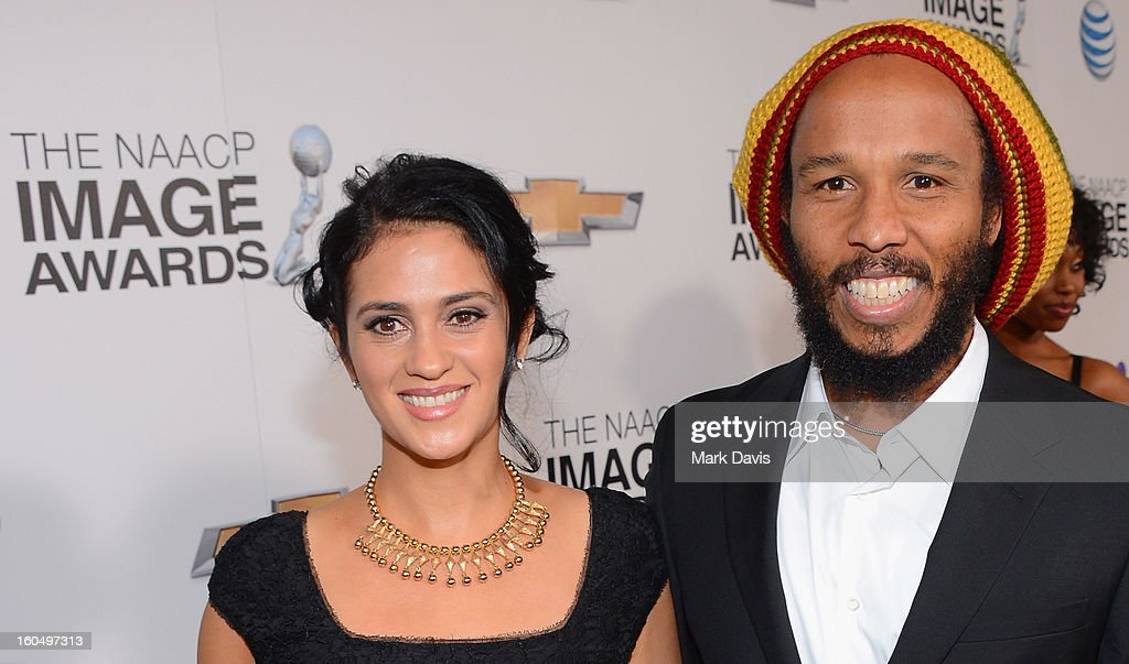 Musician Ziggy Marley and wife, Orly Marley attend the 44th NAACP Image Awards at The Shrine Auditorium on February 1, 2013 in Los Angeles, California.