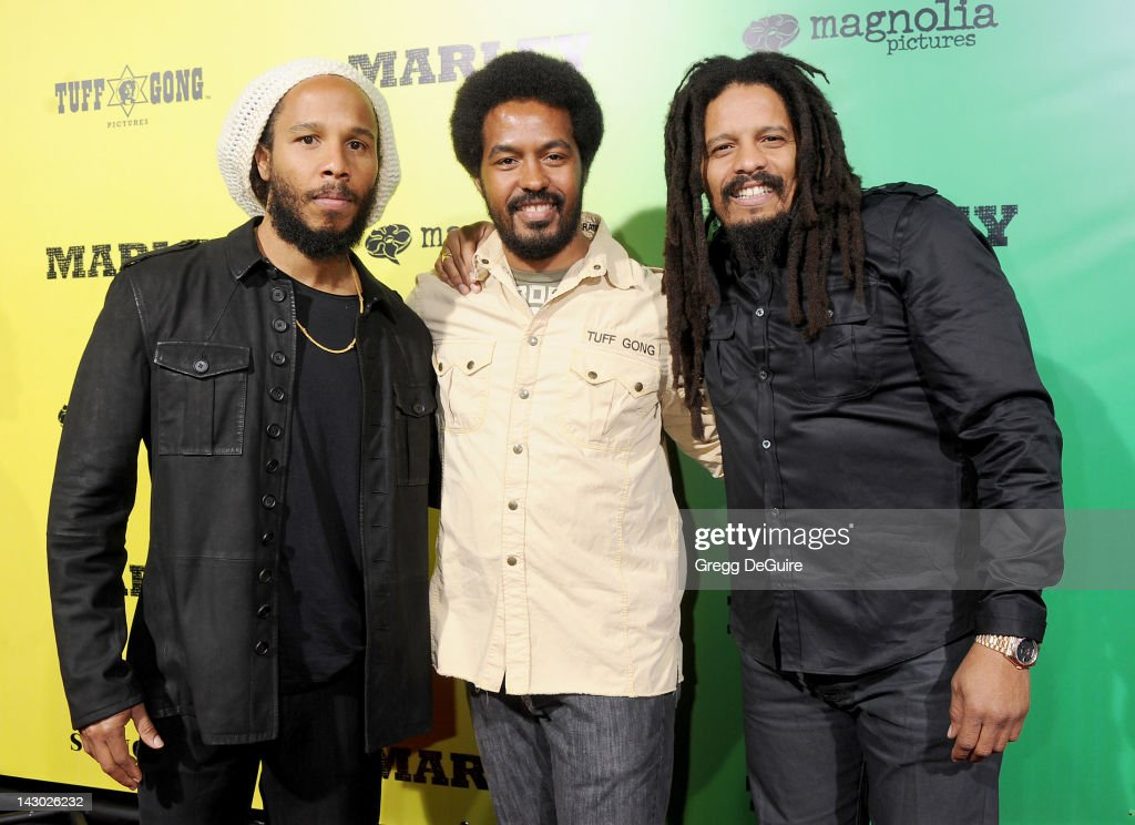 Musician Ziggy Marley Robbie Marley and Rohan Marley arrive at the Los Angeles premiere of 'Marley' at ArcLight Cinemas Cinerama Dome on April 17...
