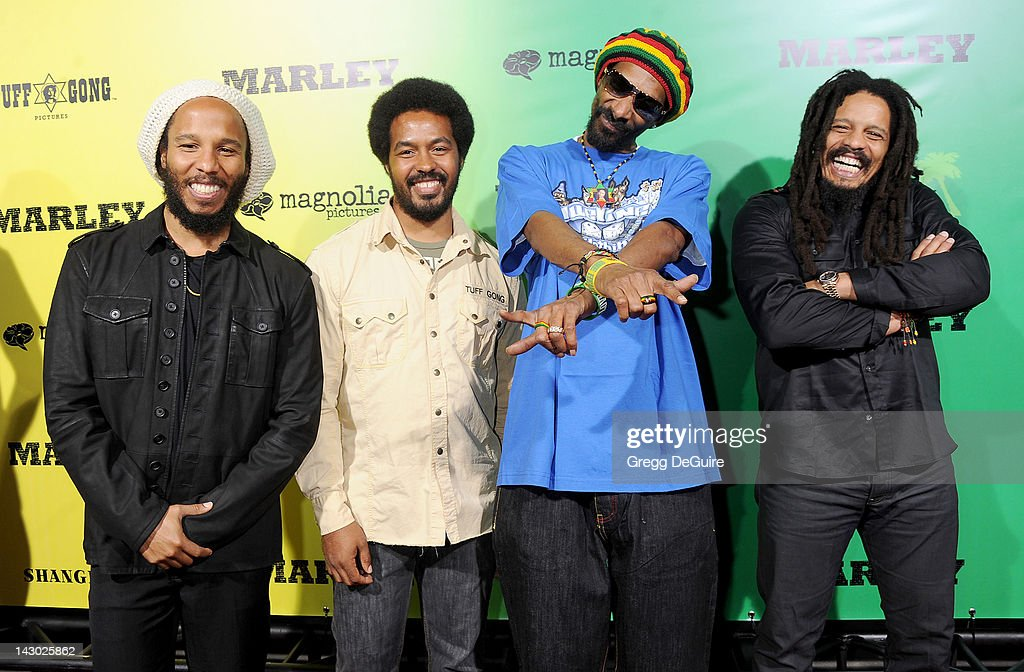 Musician Ziggy Marley Robbie Marley Snoop Dogg and Rohan Marley arrive at the Los Angeles premiere of 'Marley' at ArcLight Cinemas Cinerama Dome on...