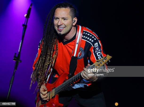 Musician Zoltan Bathory of Five Finger Death Punch peforms during Rocklahoma on May 23 2014 in Pryor Oklahoma