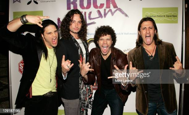 Musician/actor Constantine Maroulis poses with musicians Joey Cassata Paulie Z and David Z of ZO2 at ZO2's Rock Asylum Benefit Concert at the Hiro...