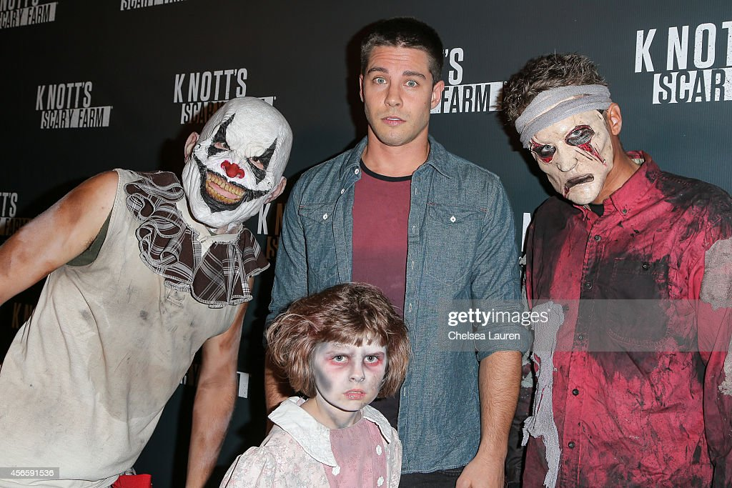 Musician/actor Dean Geyer attends the Knotts Scary Farm celebrity VIP opening at Knott's Berry Farm on October 2 2014 in Buena Park California