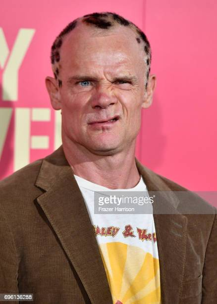 Musician/actor Flea arrives at the Premiere of Sony Pictures' 'Baby Driver' at Ace Hotel on June 14 2017 in Los Angeles California