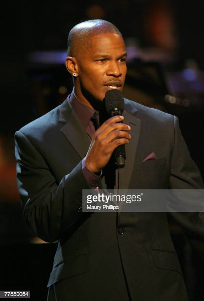Musician/actor Jamie Foxx on stage at The Thelonious Monk Institute of Jazz and The Recording Academy Los Angeles chapter honoring Herbie Hancock all...