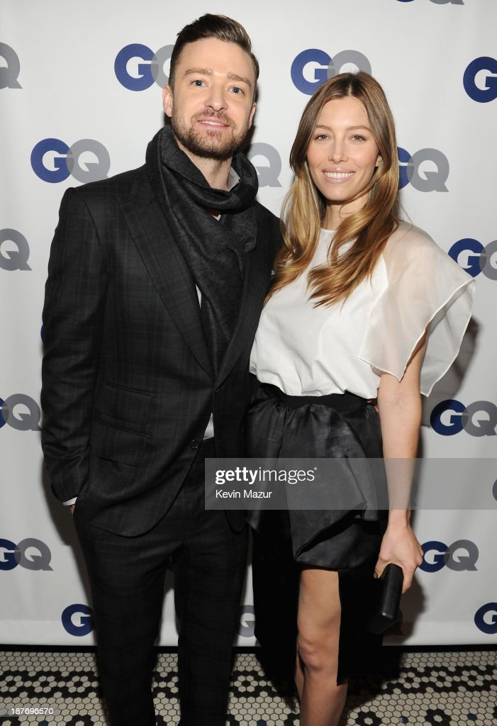 Musician/actor <a gi-track='captionPersonalityLinkClicked' href=/galleries/search?phrase=Justin+Timberlake&family=editorial&specificpeople=157482 ng-click='$event.stopPropagation()'>Justin Timberlake</a> (L) and actress <a gi-track='captionPersonalityLinkClicked' href=/galleries/search?phrase=Jessica+Biel&family=editorial&specificpeople=203011 ng-click='$event.stopPropagation()'>Jessica Biel</a> attend the GQ Men of the Year dinner on November 11, 2013 in New York City.